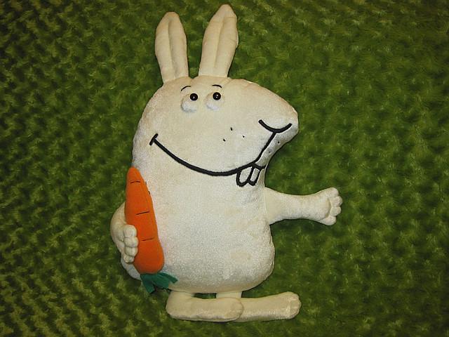 Мягкая игрушка - подушка заяц Морковин ручная работа