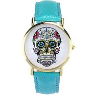 Часы женские наручные череп голубые арт. 072