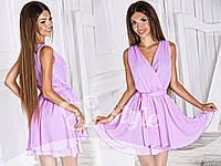 Шифоновое розовое платье с поясом