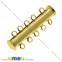 Магнитный замок-слайдер на 5 нитей, Золото, 31х10 мм, 1 шт (ZAM-016982)