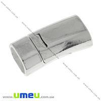 Замок магнитный для вклеивания шнура, Светлое серебро, 26х13 мм, 1 шт (ZAM-016955)