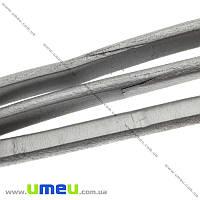 Основа для браслета Regaliz из нат. кожи УЦЕНКА, Серая метал., 10х6мм, 20 cм, 1 шт (OSN-017039)