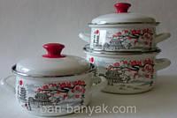 Набір посуду Керч Сферичні 6 предметів емаль (Гілка сакури-1)