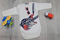 Детский боди длинный рукав на мальчика материал интерлок, 2м, 3м, 6м, 9м BONNE BABY Турция