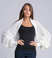 Молодежный женский свитер-шарф молочного цвета