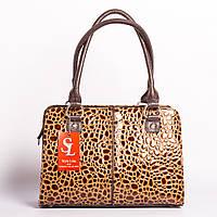Деловая сумка портфель в коричневом лаке