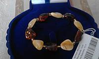"""Классический  браслет """"Панна"""" с натуральным янтарем."""
