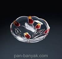 Тарелка WG Nadine Satin-Red-Gold 3 штуки d18 см стекло (6141)