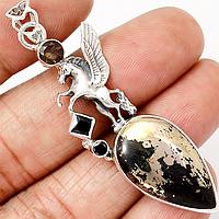 Пирит в магнетите, черный оникс и раухтопаз, серебро кулон Пегас