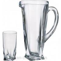 Quadro Набор для воды (кувшин 1,5л+ стакани 350мл-6шт) 7 предметов богемское стекло Bohemia