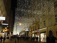 Монтаж новогодних светодиодных гирлянд, праздничные гирлянды, гирлянда занавес штора бахрома сеть сетка нить