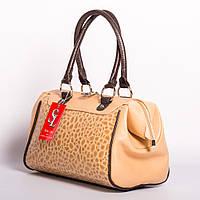 Бежевая сумка саквояж лаковая женская №1337km