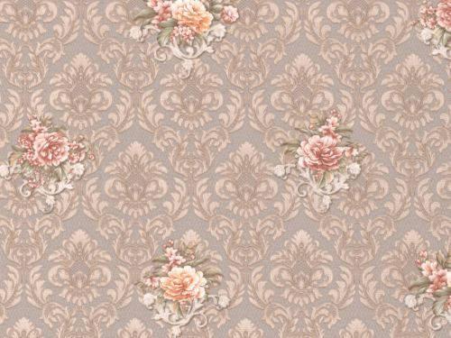 Обои на стену, бежевый, цветы, вензель, дуплекс, бумажная основа,B64,4 Гвоздика 8092-02, 0,53*10м, фото 2