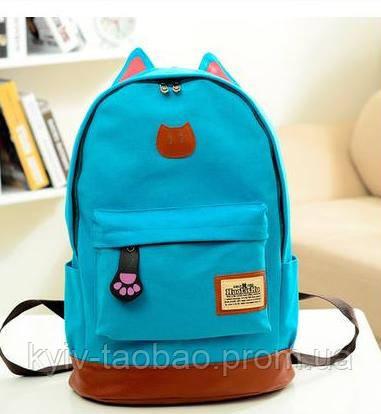 Городской кото-рюкзак с ушками и лапкой голубой