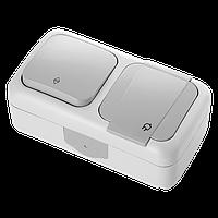 Комбинация розетки с заземлением и выключателя 1-кл. проходного ViKO Palmiye белый, серый