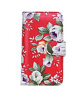 Универсальный чехол книжка 5 дюймов (размер XL) цветы на красном