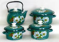 Набір посуду Керч Конічні 8 предметів емаль (Марічка)