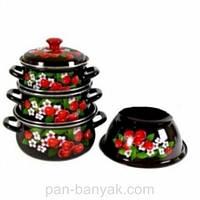 Набор посуды Керчь Сферические 7 предметов емаль (Цветущая вишня-1-М)