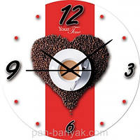 """Годинники настінні S@T Кухня """"Кавовий"""" d28 см мдф (01-047)"""