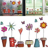 Интерьерная   наклейка на стену Цветы в горшке (035212), фото 1