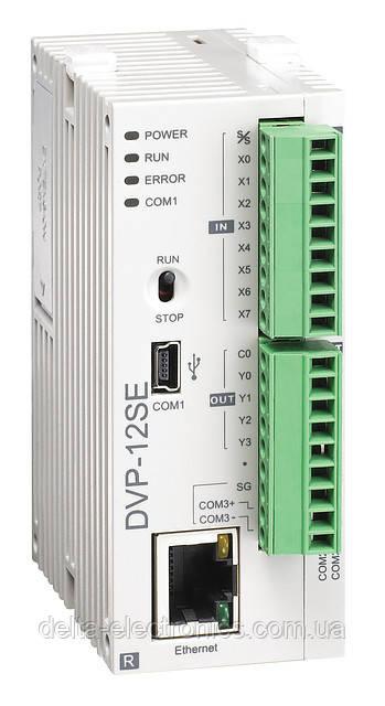 Базовый модуль контроллера серии SE Delta Electronics, 8DI/4DO реле, 24В, Ethernet, RS485, DVP12SE11R