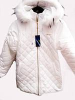 Зимняя детская куртка белого цета  Сердечко