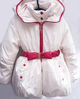 Нарядная зимняя куртка белого цвета  Сонечко1420