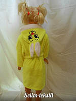 Детский халат Зайка с ушками желтый