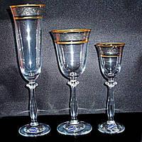 Подарочный набор бокалов Bohemia Angela Gold (40600/43249/185-18)18 пр.
