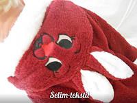 Детский халат Зайка с ушками светло бордовый