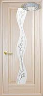 """Двери межкомнатные """"Волна-Р2. Цвет ясень, остекленные с рисунком"""