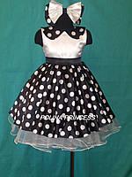 Детское платье для девочки  в белый горох