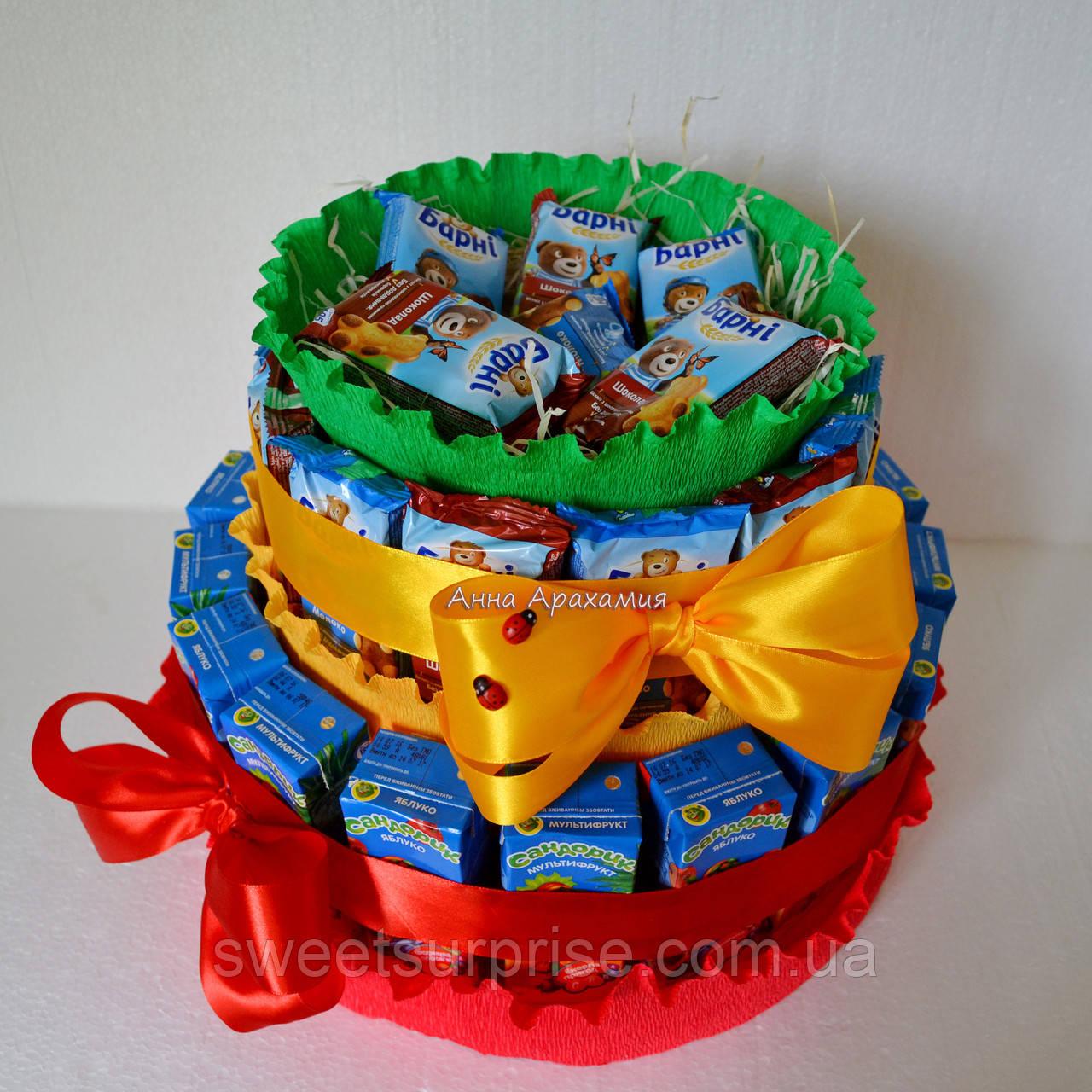 """Торт в детский сад из конфет и сока """"Светофор"""""""