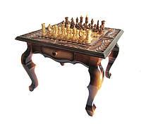 Стол шахматный из дерева,ручной работы,резьба по дереву