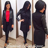 Женское черное пальто + вставки эко кожи