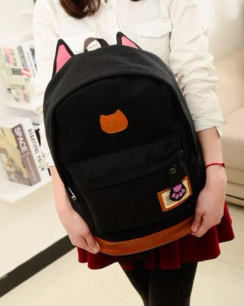 Рюкзак женский Котик (черный)