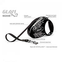 Поводок-рулетка Flexi Glam крылья черный-оникс