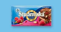 Шоколад молочний Studentska Pecet з арахісом і малиною 180г
