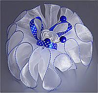 Бант бело-синий с розой средний 406