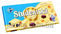 Шоколад белый Studentska Pecet с с арахисом, желе и изюмом 180г