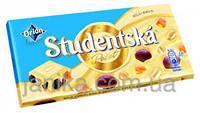 Шоколад білий Studentska Pecet з з арахісом, желе і родзинками 180г