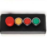 """Пост 3-кнопочный чёрно-серый с кнопкой """"грибок"""" d=30mm"""