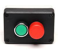 Пост чёрно-серый 2 кнопочный (пуск и аварийный стоп d=30mm) (1НО+1НЗ)