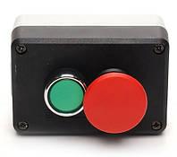 Пост чёрно-серый 2 кнопочный (пуск и аварийный стоп d=40mm) (1НО+1НЗ)