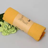Модный женский воздушный шарф яркого горчичного цвета