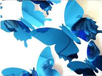 """Наклейка на стену, пластиковые наклейки, украшения стены наклейки """"бабочки голубые зеркальные 12шт набор"""""""