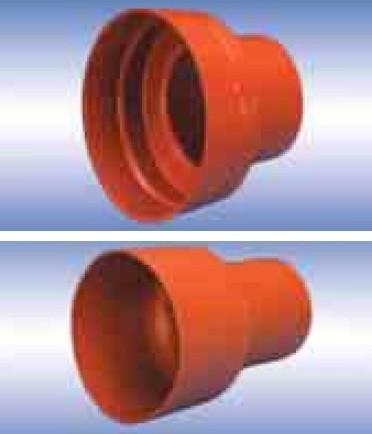 Патрубок для соединения раструба трубы ПВХ с гладким концом бетонной трубы