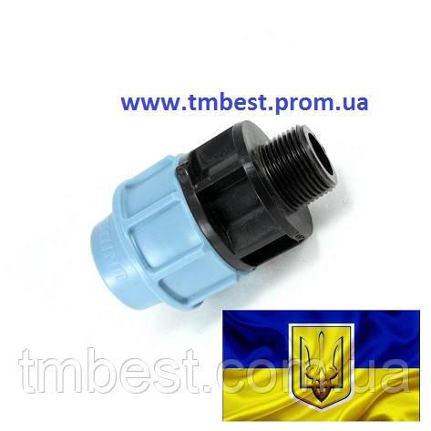 """Муфта 63*1 1/2"""" РН ПНД з зовнішньою різьбою затискна компресійна, фото 2"""