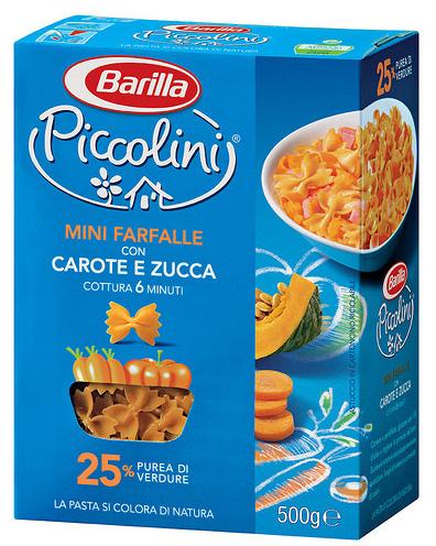 Макароны детские твердых сортов Barilla «Piccolini» mini Farfalle с тыквой и морковью 500 гр.
