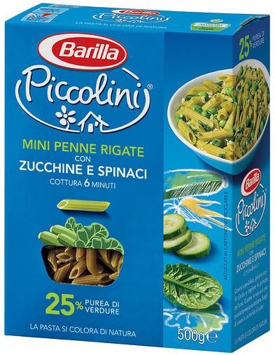 Макароны детские твердых сортов Barilla «Piccolini» mini  Pene Rigate со шпинатом и цуккини 250 гр.